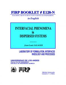 E120N Interfacial phenomena in dispersed systems